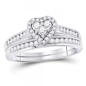 10kt White Gold Womens Diamond Heart Love Bridal Wedding Engagement Ring Set 1/2