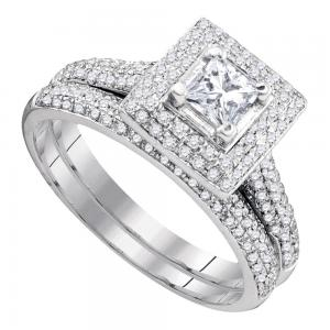 14kt White Gold Womens Diamond Princess Bridal Wedding Engagement Ring Band Set