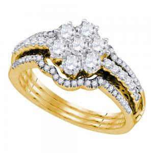 14kt Yellow Gold Womens Diamond Cluster Bridal Wedding Engagement Ring Band Set