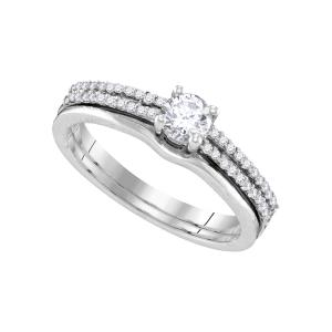 14k White Gold Womens Round Diamond Slender Double Row Bridal Wedding Engagement