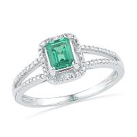 Sterling Silver Womens Lab-Created Emerald Solitaire Diamond Split-shank Ring