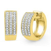 Gold & Diamond Huggie Earrings