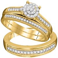 His & Her Gold Wedding ring set
