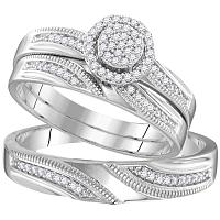 His & Her Silver Wedding Ring Set