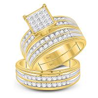 14kt Yellow Gold His & Hers Princess Diamond Cluster Matching Bridal Wedding Ring Band Set 1-1/2 Cttw