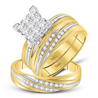 10kt Yellow Gold His & Hers Princess Diamond Cluster Matching Bridal Wedding Ring Band Set 3/4 Cttw