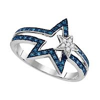 Sterling Silver Womens Round Blue Color Enhanced Diamond Double Star Ring