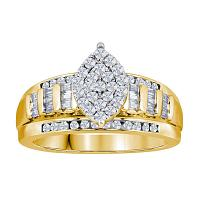 Yellow-tone Sterling Silver Womens Round Diamond Oval Cluster Bridal Wedding Engagement Ring