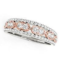 14K White And Rose Gold Doulbe Diamond Infinity Design Band (3/8