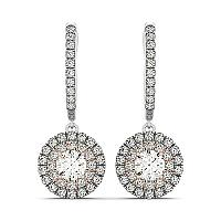 14K White And Rose Gold Drop Diamond Earrings with a Double Roun