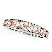 14K White And Rose Gold Infinity Style Diamond Wedding Band (1/5