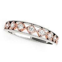 14K White Gold And Rose Gold Unique Diamond Wedding Band (1/10 c