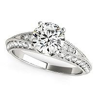 14K White Gold Pronged Round Antique Diamond Engagement Ring (1