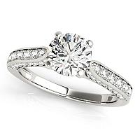 14K White Gold Round Cathedral Diamond Engagement Ring (1 1/2 ct