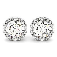14K White Gold Round Prong Halo Style Earrings