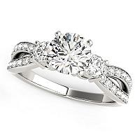 14K White Gold Split Shank Round Diamond Engagement Ring (1 5/8