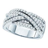 14kt White Gold Womens Round Diamond Striped Crossover Band Ring