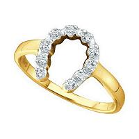 10kt Yellow Gold Womens Round Diamond Two-tone Simple Lucky Horseshoe Ring