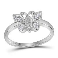 10kt White Gold Womens Round Diamond Butterfly Bug Cluster Ring