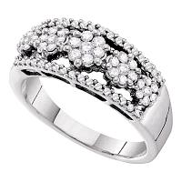 14kt White Gold Womens Round Diamond Flower Cluster Cocktail Band Ring