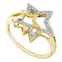 10kt Yellow Gold Womens Round Diamond Double Star Outline Ring