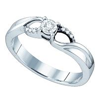 Sterling Silver Womens Round Diamond Solitaire Promise Bridal Engagement Ring