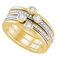 10kt Yellow Gold Womens Round Diamond Stackable Band Ring