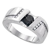 Sterling Silver Black Color Enhanced Round Channel-Set Diamond Mens Masculine Band Ring