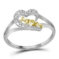 Two-tone Sterling Silver Womens Round Diamond Mom Heart Ring