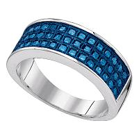 Sterling Silver Womens Round Blue Color Enhanced Diamond Triple Row Band Ring