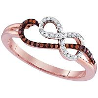10kt Rose Gold Womens Round Red Color Enhanced Diamond Infinity Ring