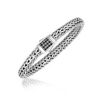 Sterling Silver Braided Style Men's Bracelet with Black Sapphire Accents