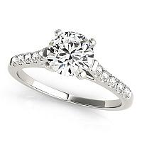 14K White Gold Cathedral Design Round Pronged Diamond Engagement