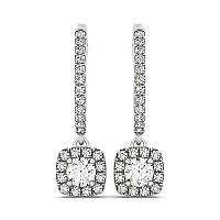 Cushion Shape Halo Style Diamond Drop Earrings in 14K White Gold