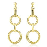 14K Yellow Gold Dangling Earrings with Multi-Textured Entwined C