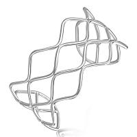 Sterling Silver Rhodium Plated Wave Motif Multi Wire Cuff