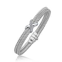 Diamond Accented X Station Weave Bangle in 14K White Gold (.17 c