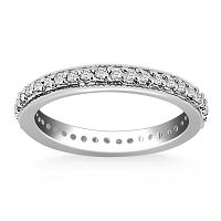 14K White Gold Pave Set Round Cut Diamond Eternity Ring with Mil