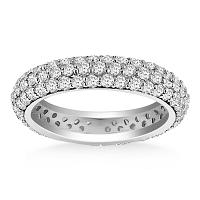 14K White Gold Cupola Round Diamond Eternity Ring in 14K White G