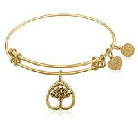 Expandable Bangle in Yellow Tone Brass with Tree Of Life Growth