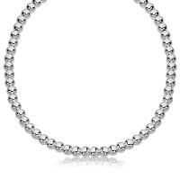 Sterling Silver Polished Bead Necklace with Rhodium Plating (6mm)