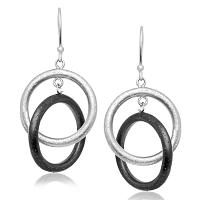 Sterling Silver with Black Plating Dual Open Circle Diamond Dust Earrings