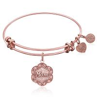Expandable Bangle in Pink Tone Brass with Mom Symbol