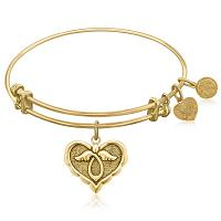 Expandable Bangle in Yellow Tone Brass with Angel Comfort Hope S