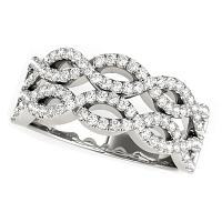 Diamond Studded Double Interlocking Waves Ring in 14K White Gold