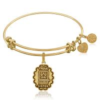 Expandable Bangle in Yellow Tone Brass with U.S. Army Proud Sist
