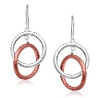 Sterling Silver with Rose Tone Rings Interlaced Earrings