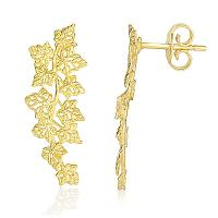 14K Yellow Gold Earrings with Vine Leaves Style