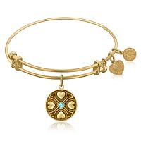 Expandable Bangle in Yellow Tone Brass with Aquamarine March Sym