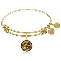 Expandable Yellow Tone Brass Bangle with I Love Rock and Roll En